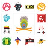Set of krishna, gryphon, all news channel, travel, mobile os a, music, rastaman, fragile handle with care, neurosurgery icons. Set Of 13 simple  icons such as Stock Photo