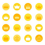 Set królewskie korony na koloru tle, ilustracja Obraz Stock