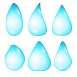 Set krople wodne diffirent formy na białym tle Zdjęcia Stock