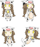 set krowy dziewczyna Zdjęcie Royalty Free