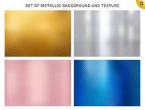 Set kruszcowy złoto, różowy złoto, srebro, błękitni metali kwadraty deseniuje teksturę i tło Złoty foliowy luksusu styl dla brosz ilustracja wektor