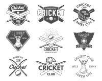 Set krykiet bawi się logów projekty ikony emblemata projekta elementy Sportowy trójnik świetlicowe odznaki symbole z przekładnią Zdjęcia Stock