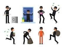 Set kryminalni charaktery odizolowywa na bielu ilustracji