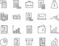 Set księgowości linii wektoru ikony ilustracji
