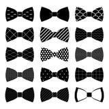 Set łęku krawat wewnątrz na białym tle Fotografia Stock