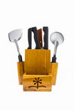 Set kuchenni knifes w drewnianym pudełku Obrazy Stock