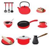 Set kuchenni naczynia, sztuka Obraz Stock