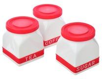 Set kuchenni zbiorniki dla cukieru, kawy i herbaty, Obrazy Stock