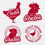 Set kurczaków logowie, etykietki, druki, plakaty dla masarki Fotografia Royalty Free