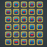 Set kwadrat zapina z kamiennymi elementami i symbolami dla sieci gier komputerowych i interfejsu Obrazy Royalty Free