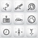 Set kwadratowi zastosowanie guziki: nawigacja Fotografia Royalty Free