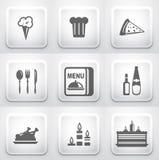 Set kwadratowi zastosowanie guziki: restauracja Zdjęcie Stock