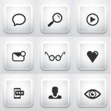 Set kwadratowi zastosowanie guziki: sieć Obrazy Stock