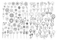 Set kwiatów i drzew doodles ilustracji