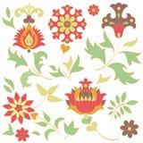 Set kwiatów retro elementy Obraz Royalty Free