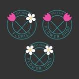 Set kwiatu sklepu wektoru logo Obrazy Royalty Free