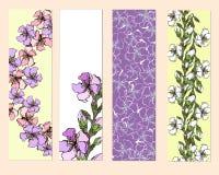 Set kwieciści bookmarks, ulotki z różowymi kwiatami, ilustracja wektor