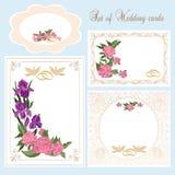 Set kwieciste ślubne karty Obrazy Royalty Free