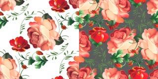 Set Kwiecisty tekstylny bezszwowy wzór w rosjanina Zhostovo stylu również zwrócić corel ilustracji wektora royalty ilustracja