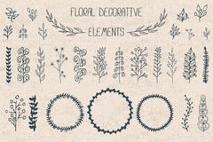 Set 30 kwiecistych dekoracyjnych elementów Obraz Stock