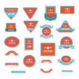 Set Of Label Design Red and Blue Color Stock Images