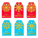 Set of  label designs for Christmas and New Year . Stock Photos