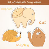 Set of label with funny animals . Royalty Free Stock Image
