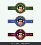 Set label with monkey royalty free illustration