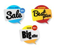 Set label sale. Special offer sale 50 percent, Best price summer. Save big offer. Blue red and yellow circle banner. Speech bubble with text sale on white stock illustration