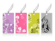 Set of labels. Four labels with flower motives Stock Image