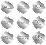 Set of labels. Illustration - set of different silver labels isolated on white stock illustration