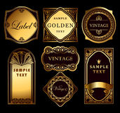 Set labels. Set of golden label in vintage style Stock Photography