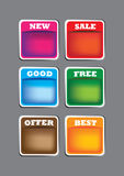 Set of  labels. A Set of 6  labels with spaces for copy Royalty Free Stock Image