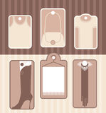 Set of labels for accessory or clothes. Some examples of labels for accessory , clothes or haberdashery Stock Photos