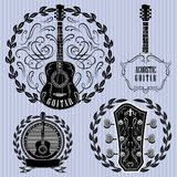 Set of labels with acoustic guitars Stock Image