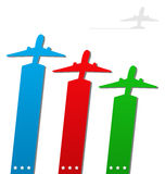 Set of labels with airplanes for aviation company Stock Photos