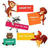 Set of labels with animals. Vector illustration Royalty Free Stock Photos