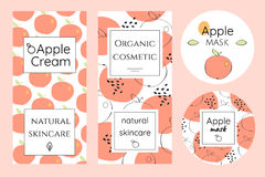 Set of labels for apple cosmetics. Brochures in abstract and cartoon style. Package template for organic cosmetics Royalty Free Stock Photos