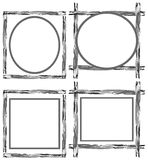 Set of labels on artistic colorful frame Stock Photo