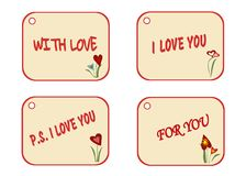 Set of labels as gift tag for present, flower bouquets for loved one. Illustration for Valentine`s day, birthday and other events. Vector collection of design Stock Photography