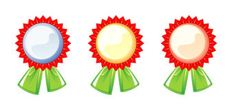 Set of labels of the awards, three colors Stock Images