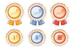 Set of labels of the awards, three colors Stock Photos