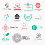 Set of labels and badges for beauty, cosmetics, spa and wellness Stock Images