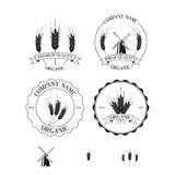 Set of labels, badges and design elements with rye Royalty Free Stock Photo