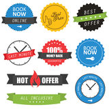Set of labels and badges for hotels. Set of labels, badges and website elements for hotels Stock Images