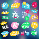 Set of labels and badges for sale, shopping, e-commerce and products promotion Stock Photography