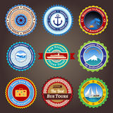 Travel labels, badges and stickers Stock Photos