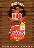 A set of labels BBQ party, fries with a banner. A fresh product. Royalty Free Stock Photography