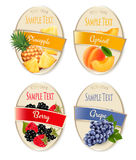 Set of labels of berries and fruit. Royalty Free Stock Photo