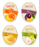 Set of labels of berries and fruit. Stock Images